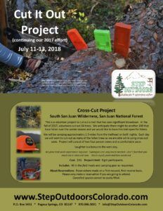 Cut It Out Project - in 2018 @ Will be provided to registrants; we will carpool to the trailhead
